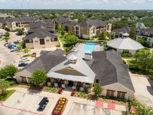 Apartments in Katy, TX - Aerial View of Community with Leasing Office & Clubhouse